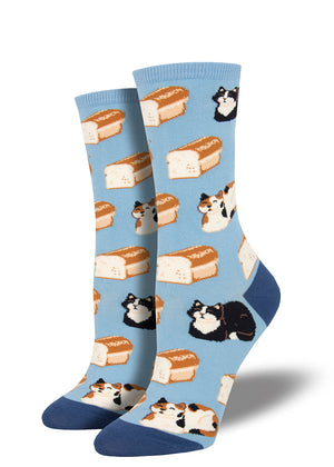 Cute cat loaf socks for women with cats and loaves of bread