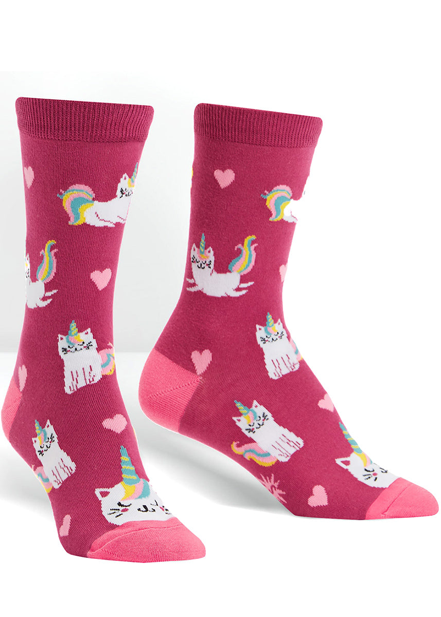 Cute cat unicorn socks for women with happy rainbow cats with unicorn horns