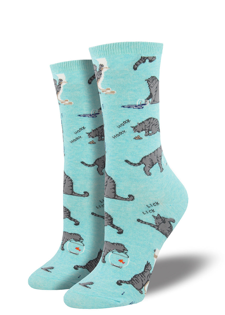 Cats get in trouble on these funny cat socks for women.