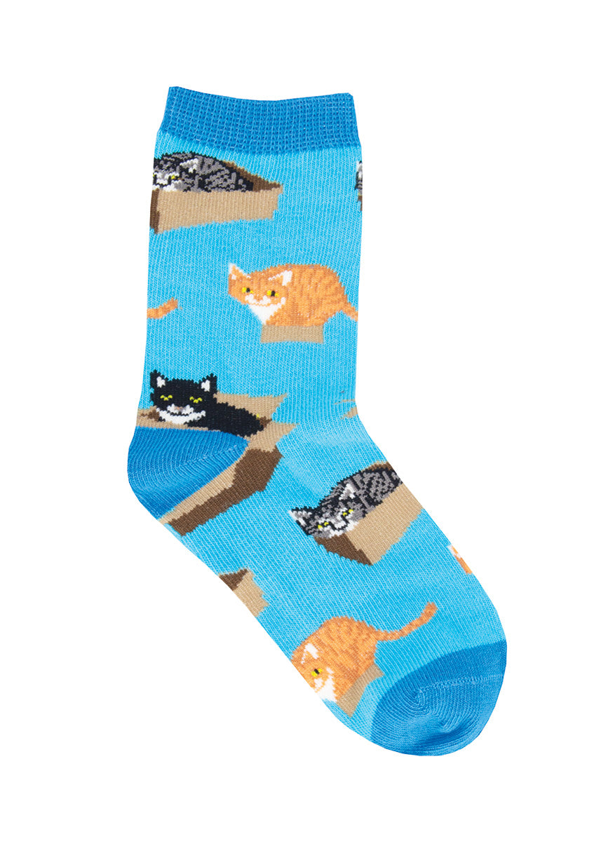 Cute animal socks for kids show adorable cats playing in cardboard boxes!