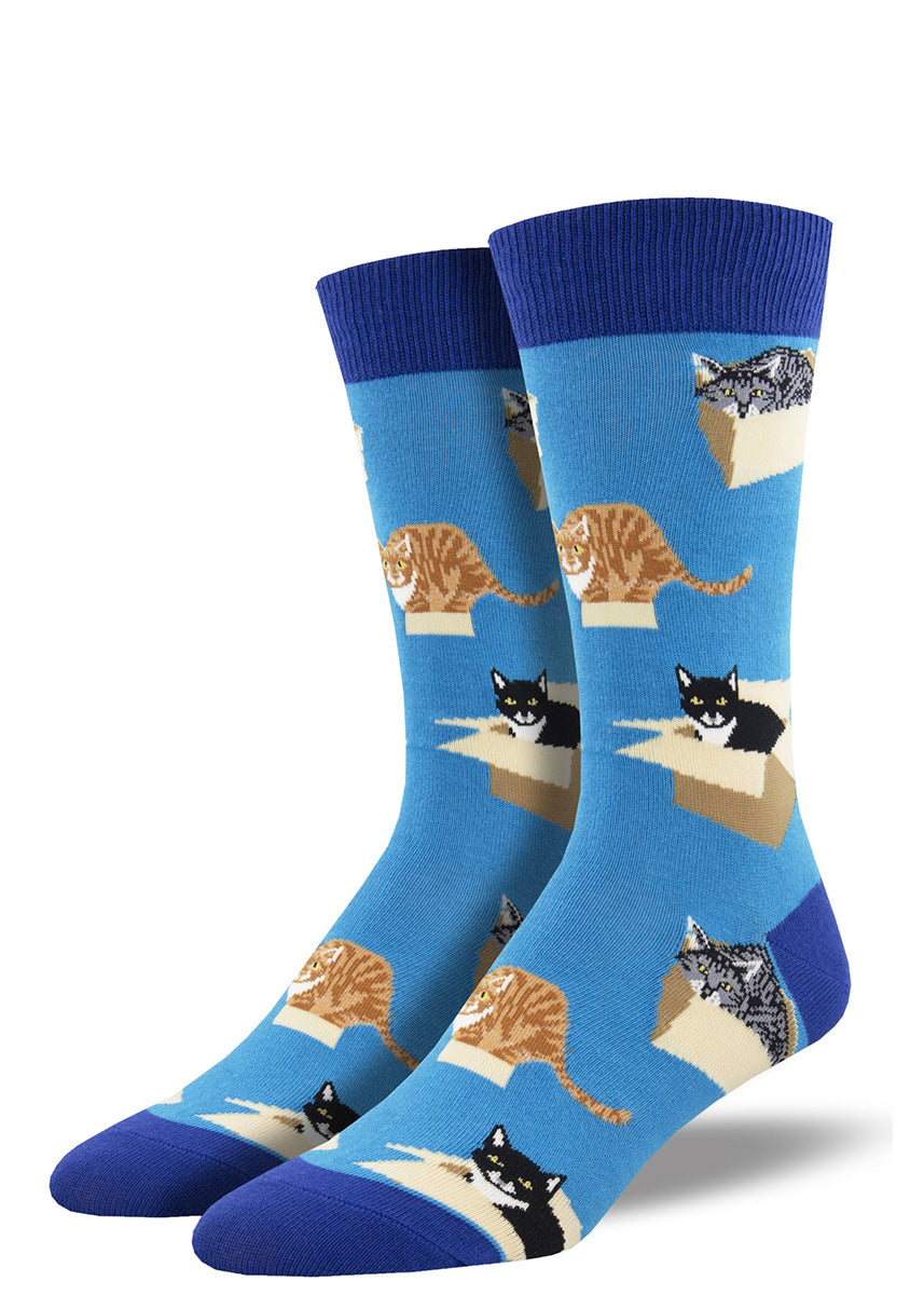 Funny cat socks for men show different types of cats resting and crouching on cardboard boxes!