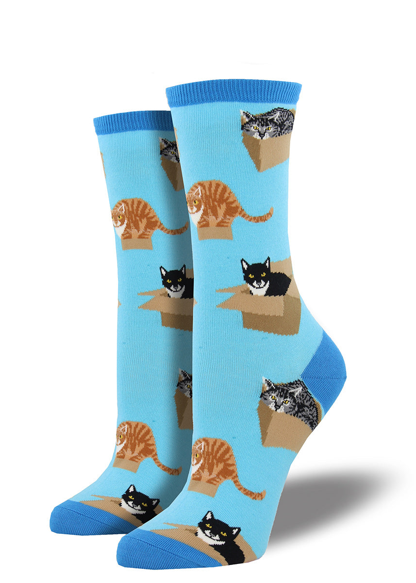 Cats nest in cardboard boxes on these super cute women's crew socks.