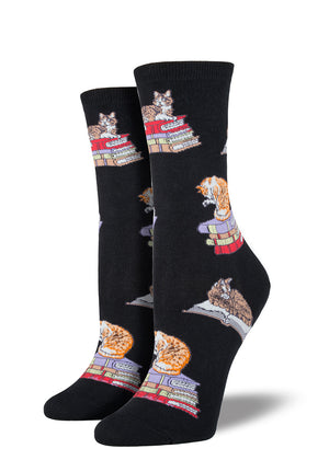 These women's socks feature stacks of books with cats sitting on them.