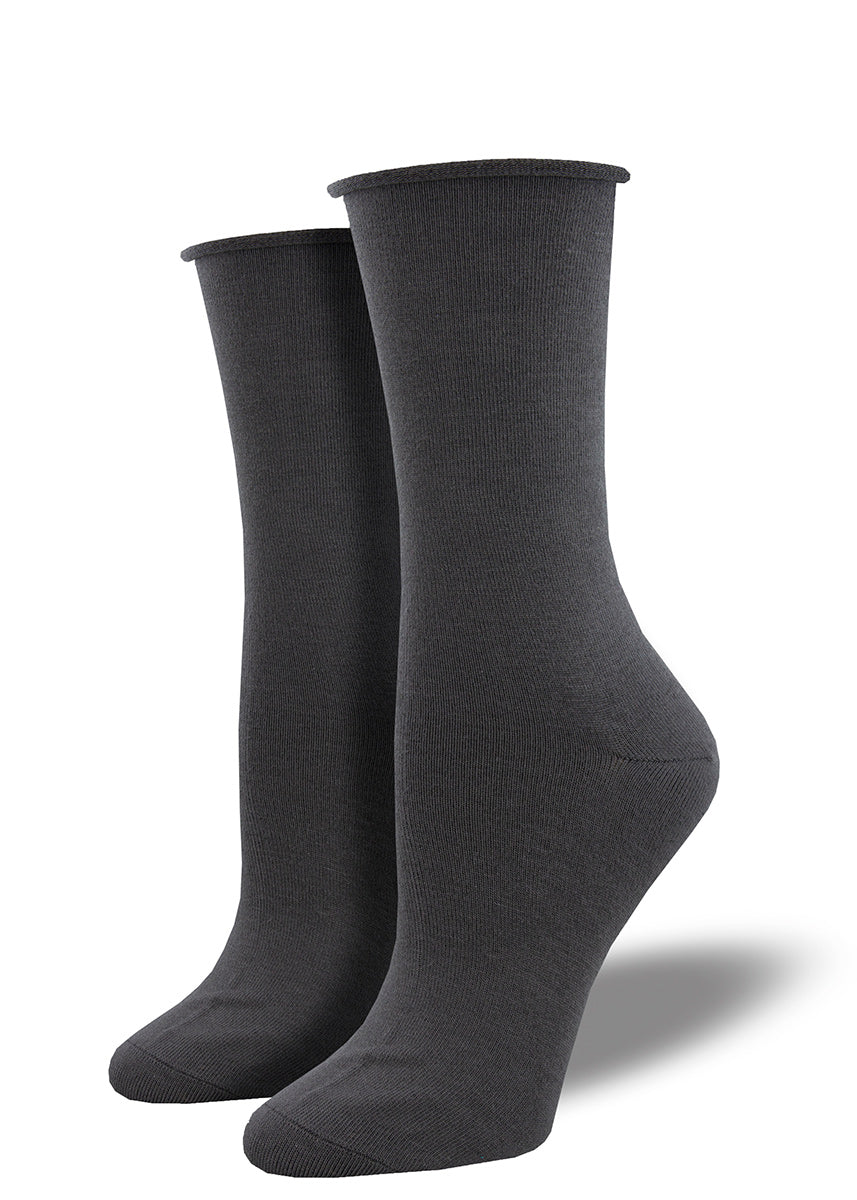 Bamboo dress socks for women in a solid charcoal gray.