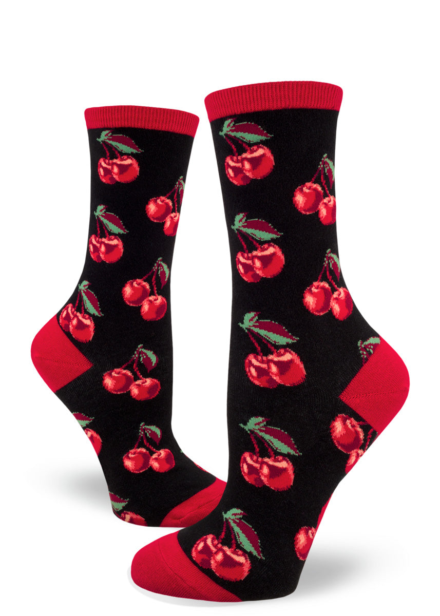 Cute crew socks for women feature double cherry designs!