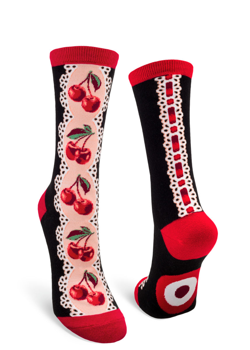 Adorable vintage-inspired crew socks for women feature ribbons of lace with double cherries and red ribbon!