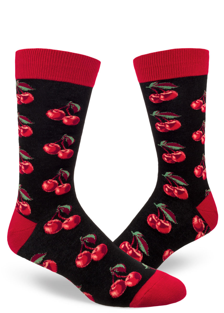Crew socks for men are covered in double cherry designs!