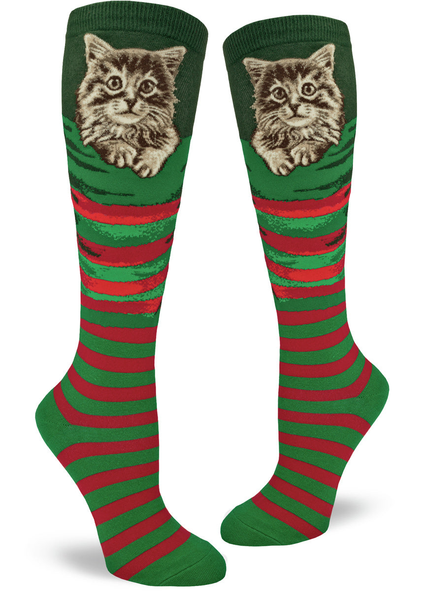 Christmas cat socks for women that look like stockings with kittens inside.