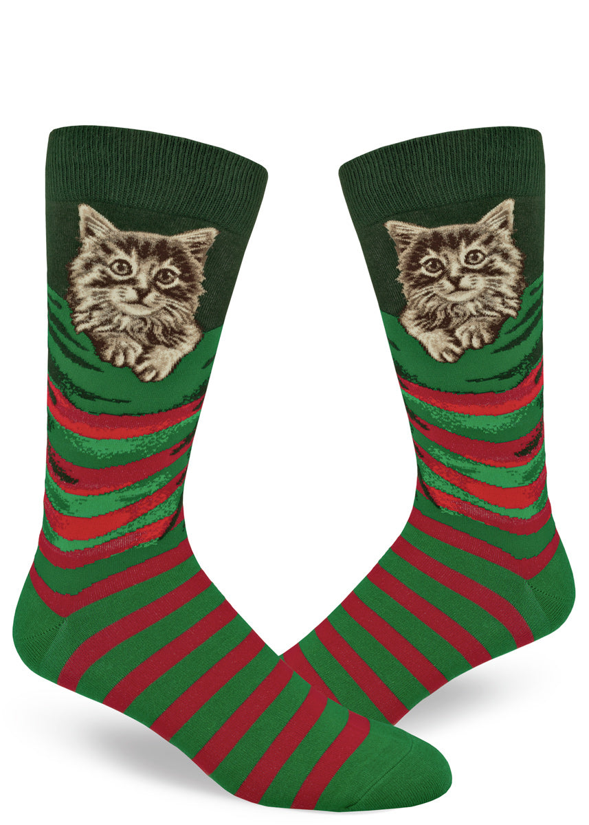 Christmas cat socks for men that look like stockings with kittens inside