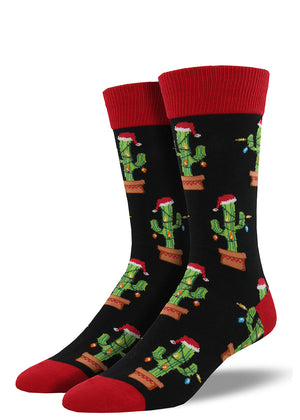 Funny Christmas cactus socks for men with cactuses decorated like Christmas trees
