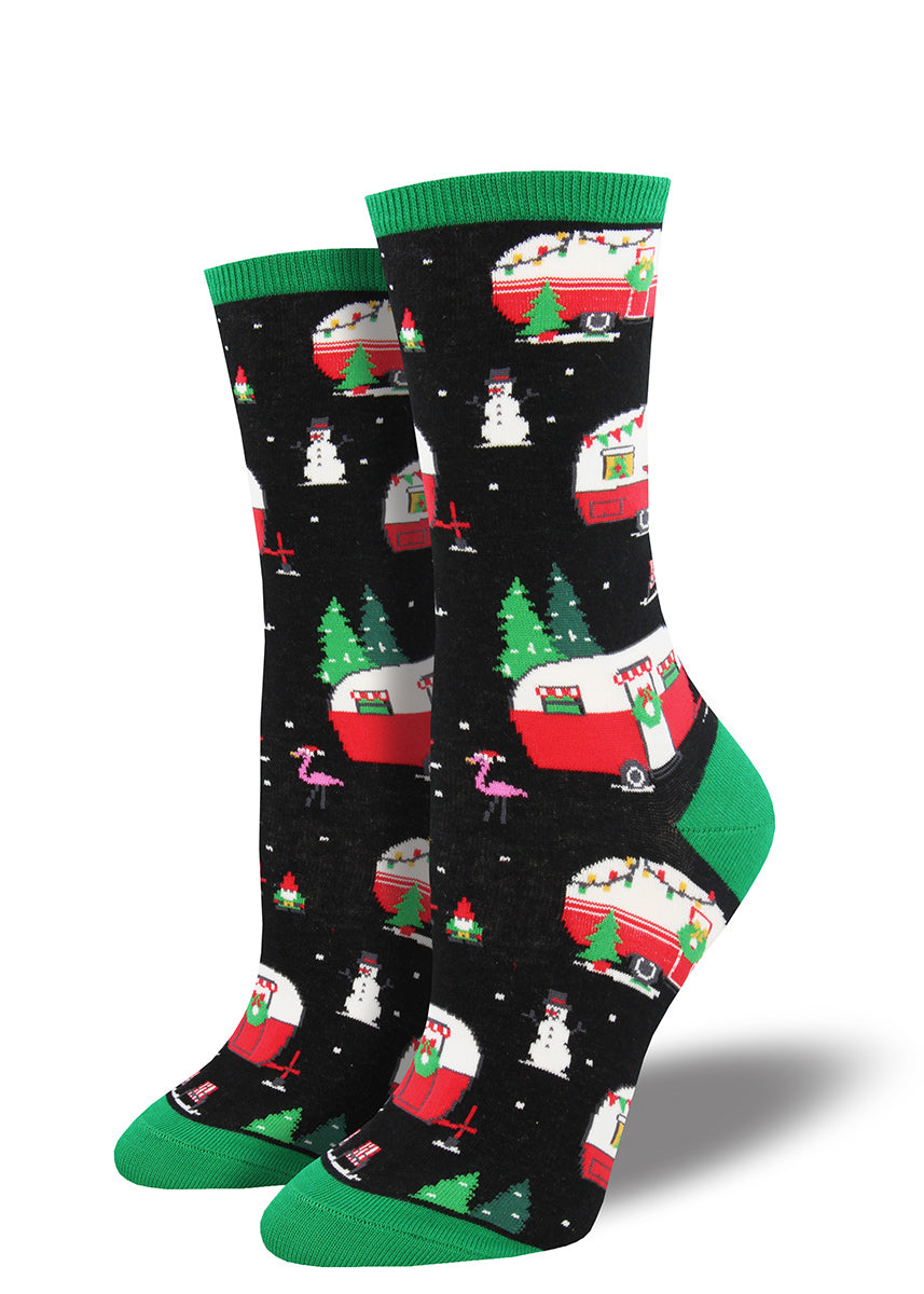 Fun women's Christmas socks with campers.