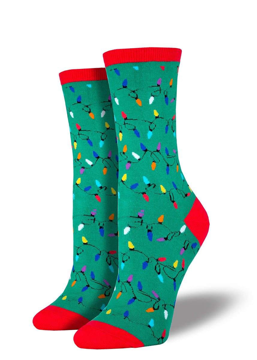 Christmas socks for women with Christmas lights.