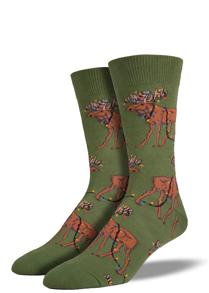 Christmas moose socks for men with moose covered in Christmas lights
