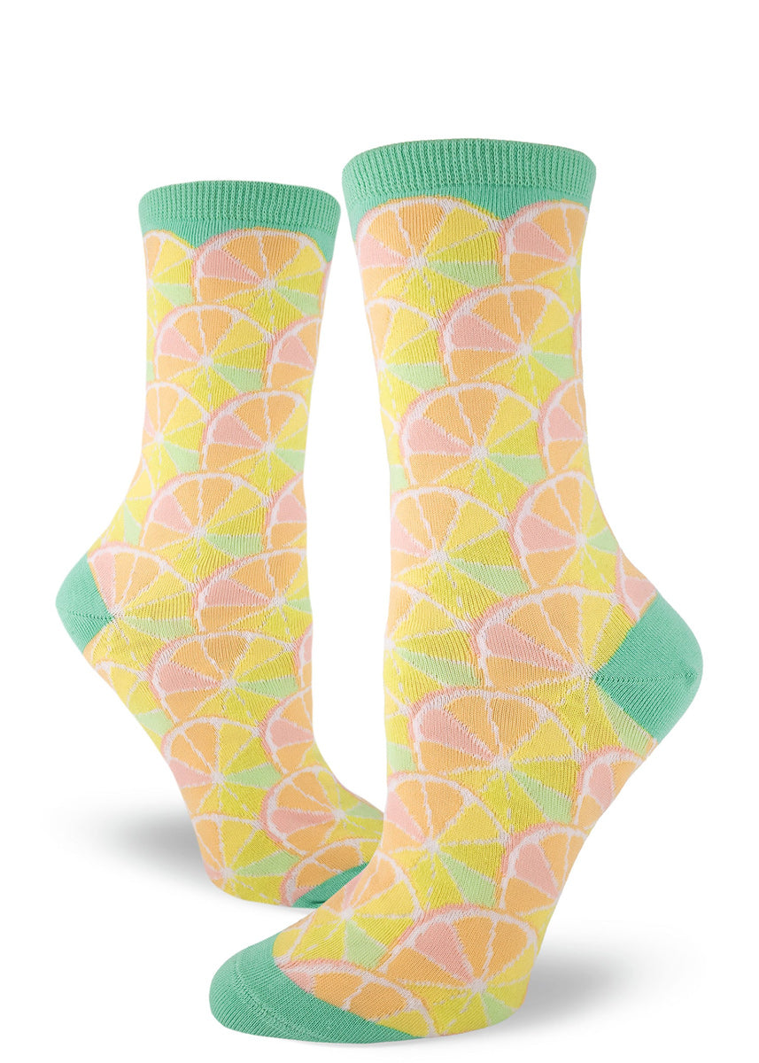 Citrus socks for women with sherbet-colored citrus segments
