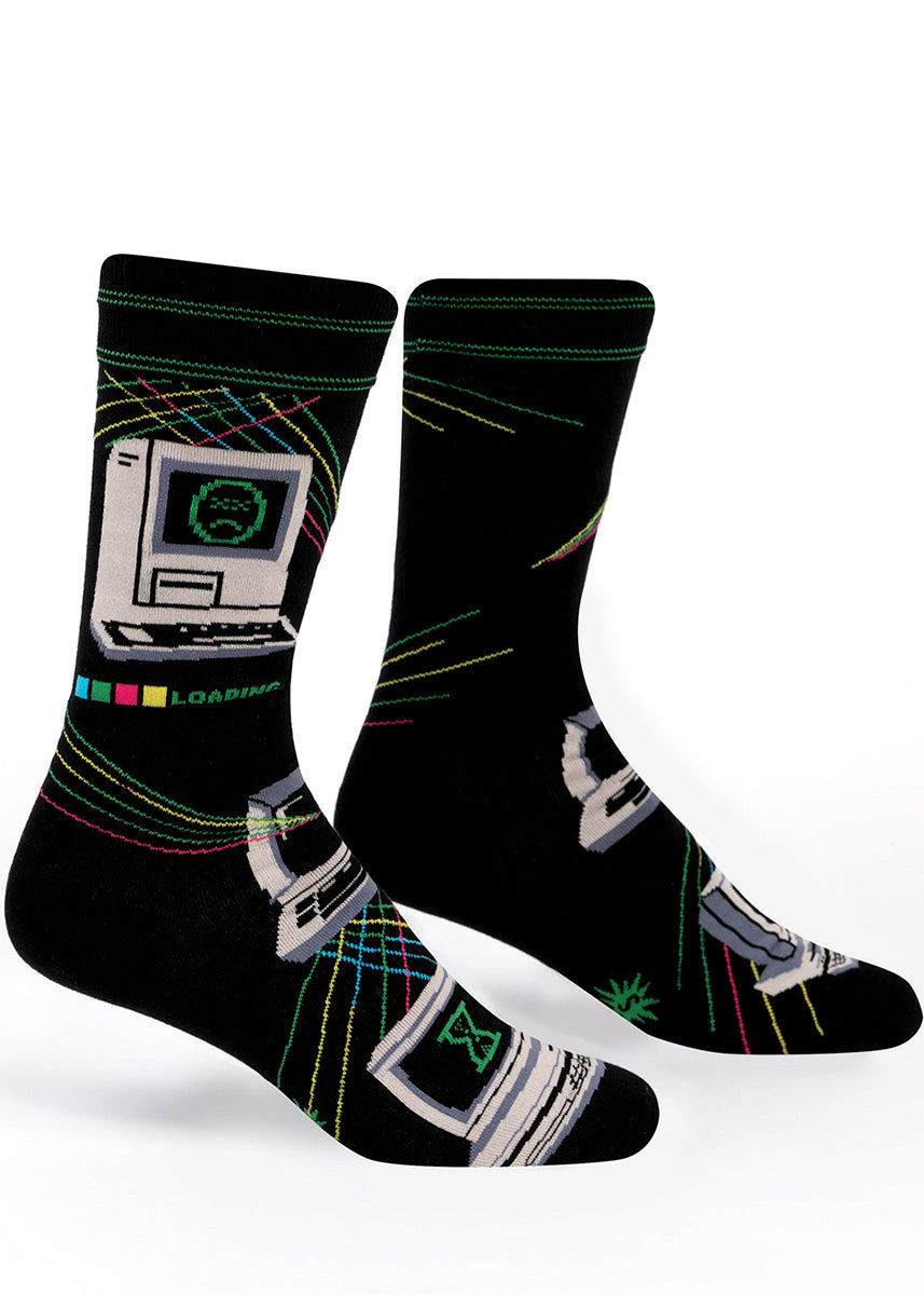 Tech socks for men show an old-school computer with a frowny-face error screen and a loading bar.