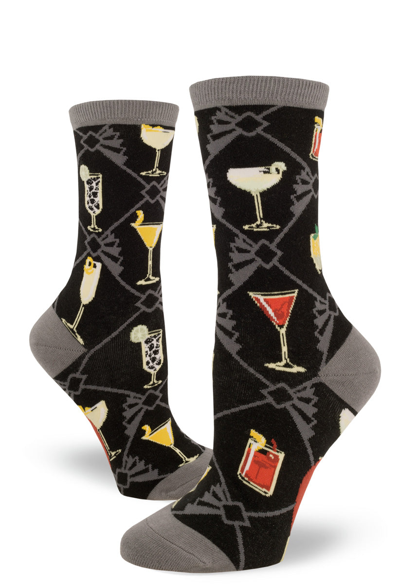 Cocktail socks for women with classic drinks on a black and gray background