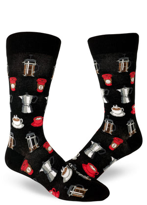 Coffee socks for men with coffee cups and French presses on a black background