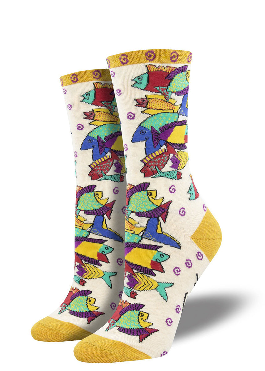 Laurel Burch socks for women feature colorful fish in Burch's funky signature style.