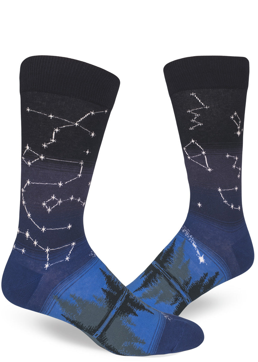 5cf7d3e33fc Men s constellation socks with stars mapped on the leg and evergreen trees  on the foot.
