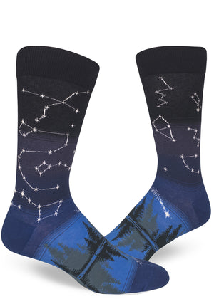 Men's constellation socks with stars mapped on the leg and evergreen trees on the foot.