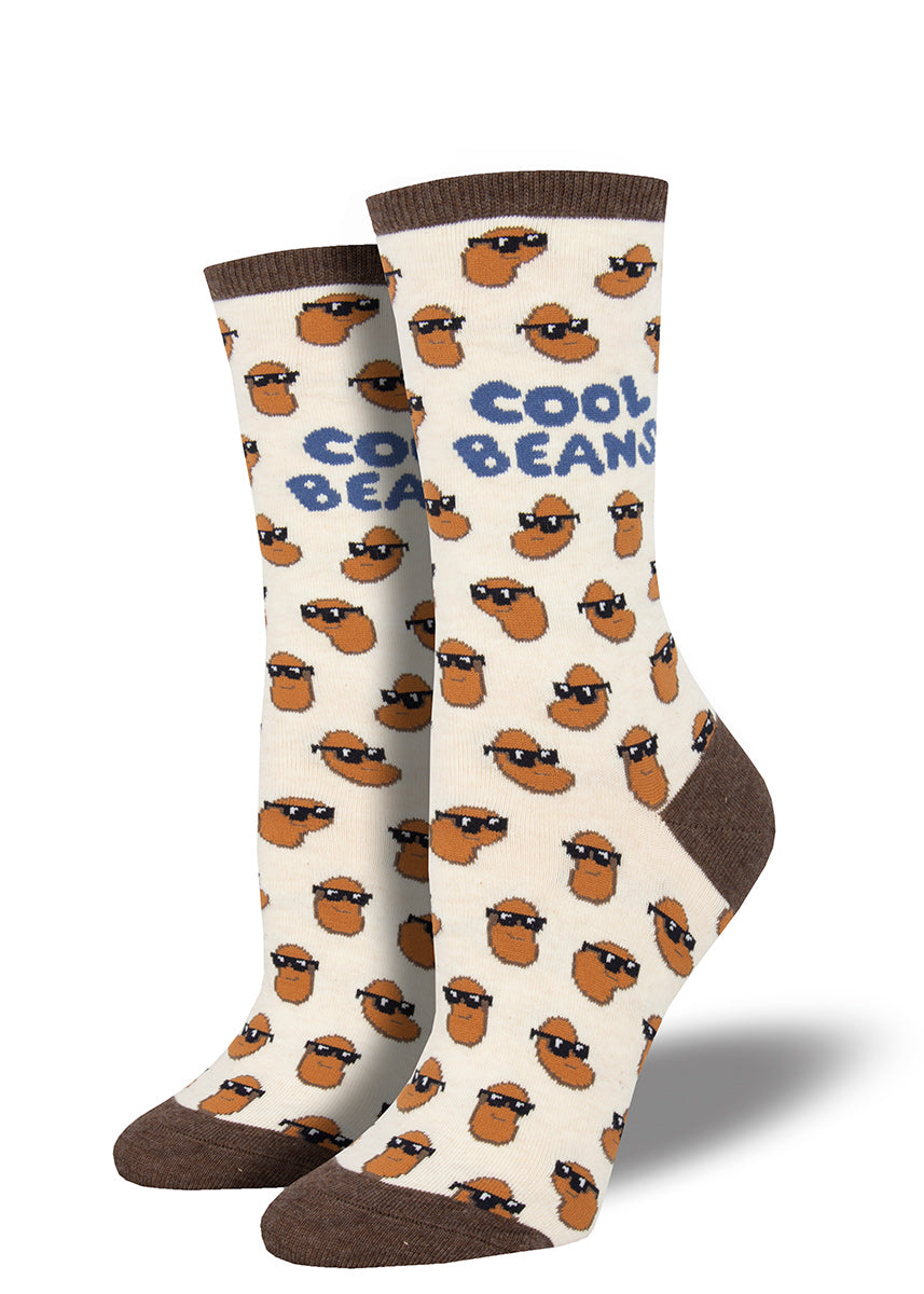 Funny cool beans socks with beans wearing sunglasses
