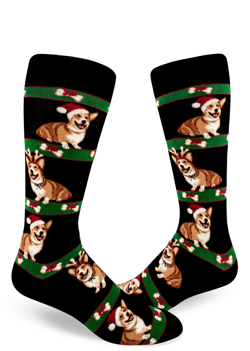 Christmas corgi socks for men with corgi dogs dressed in Christmas costumes like Santa hats and reindeer antlers