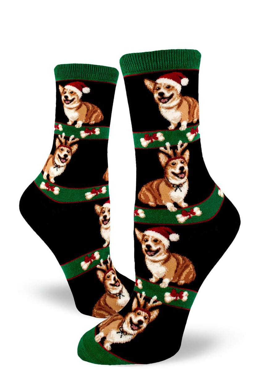 Cute Christmas corgi socks for women with dogs in Santa hats and corgis with reindeer antlers