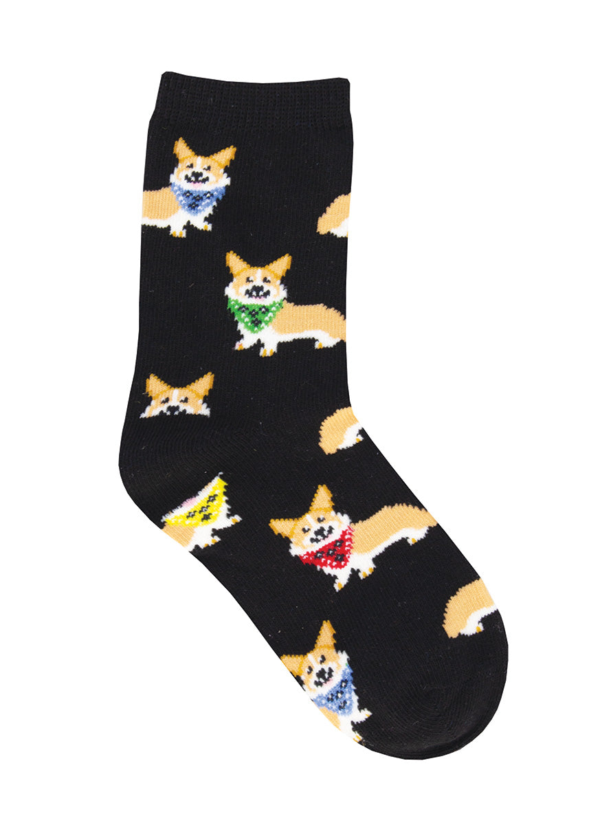 Cute dog socks for kids are covered in bandana-wearing corgis!