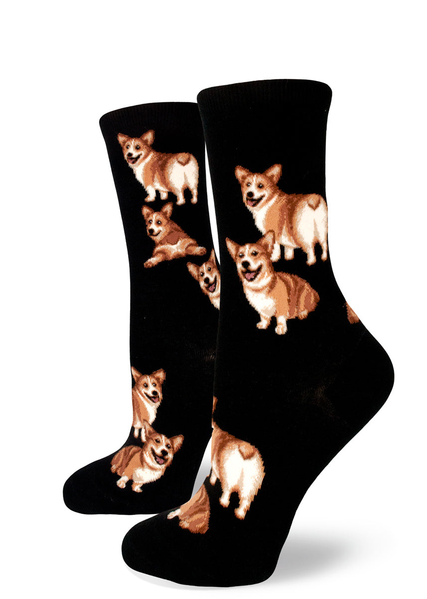 2b5a2bea6c5 Corgi socks for women with cute corgis showing their fluffy butts on a  black background