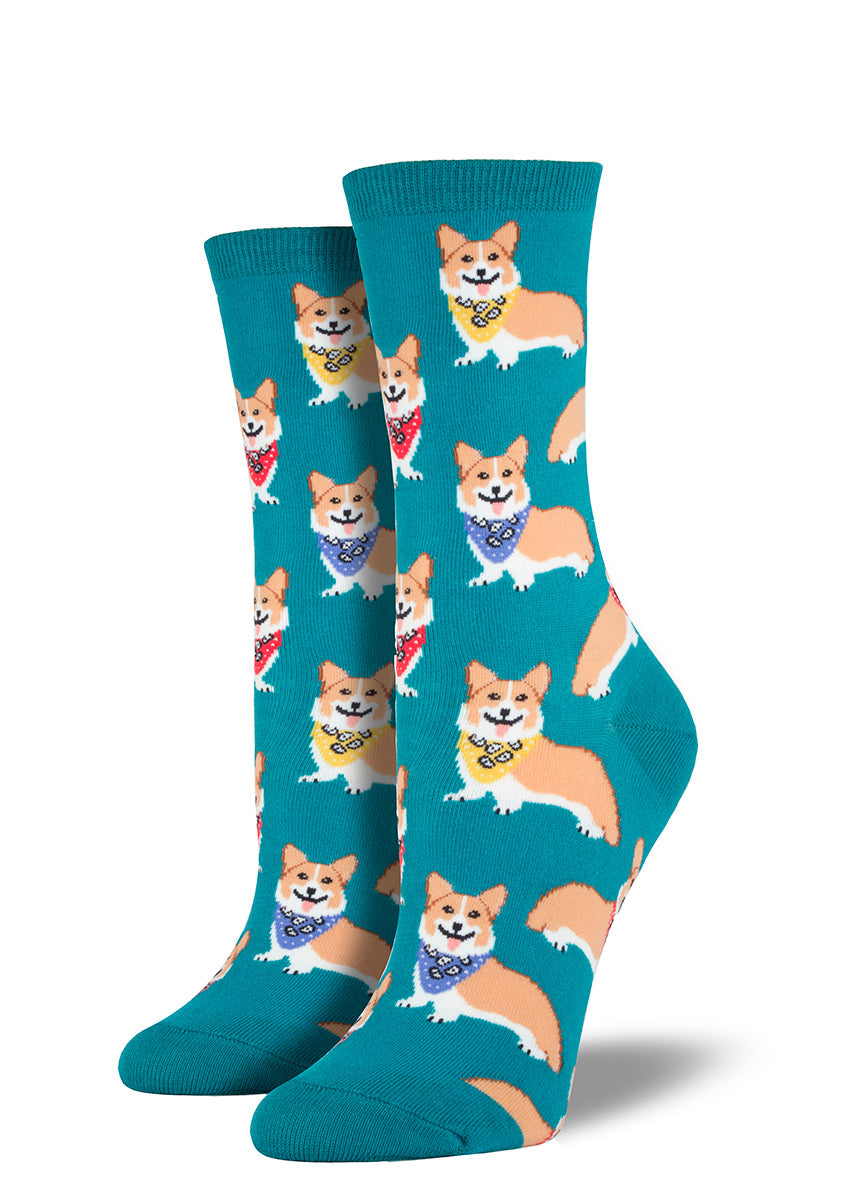 Put a smile on your feet with these happy women's emerald corgi socks!
