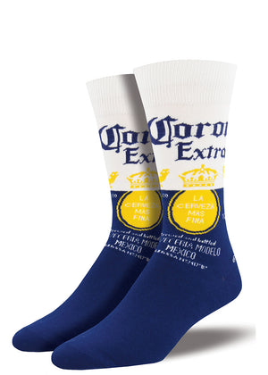 Corona beer socks for men that look like the Corona Extra beer label