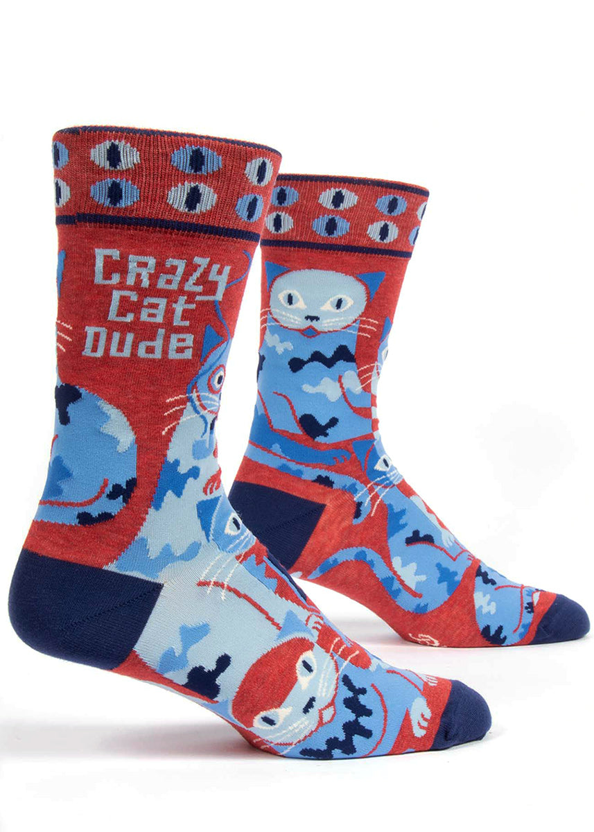 "Crazy cat socks for men that say ""Crazy cat dude"" with blue cats and psychedelic cat eyes"
