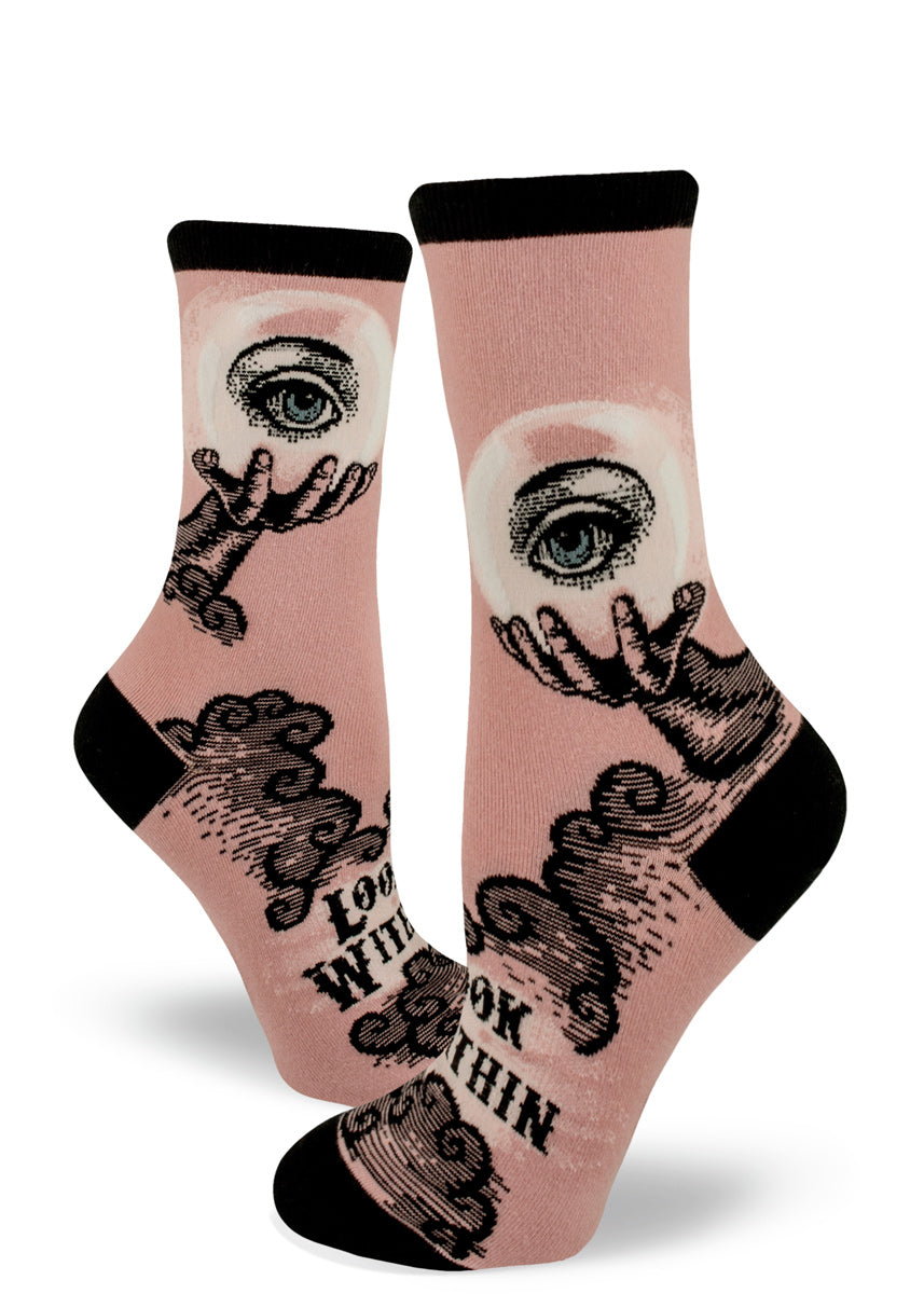 "Magic crystal ball socks for women with a dusty pink background and the words ""Look Within"""