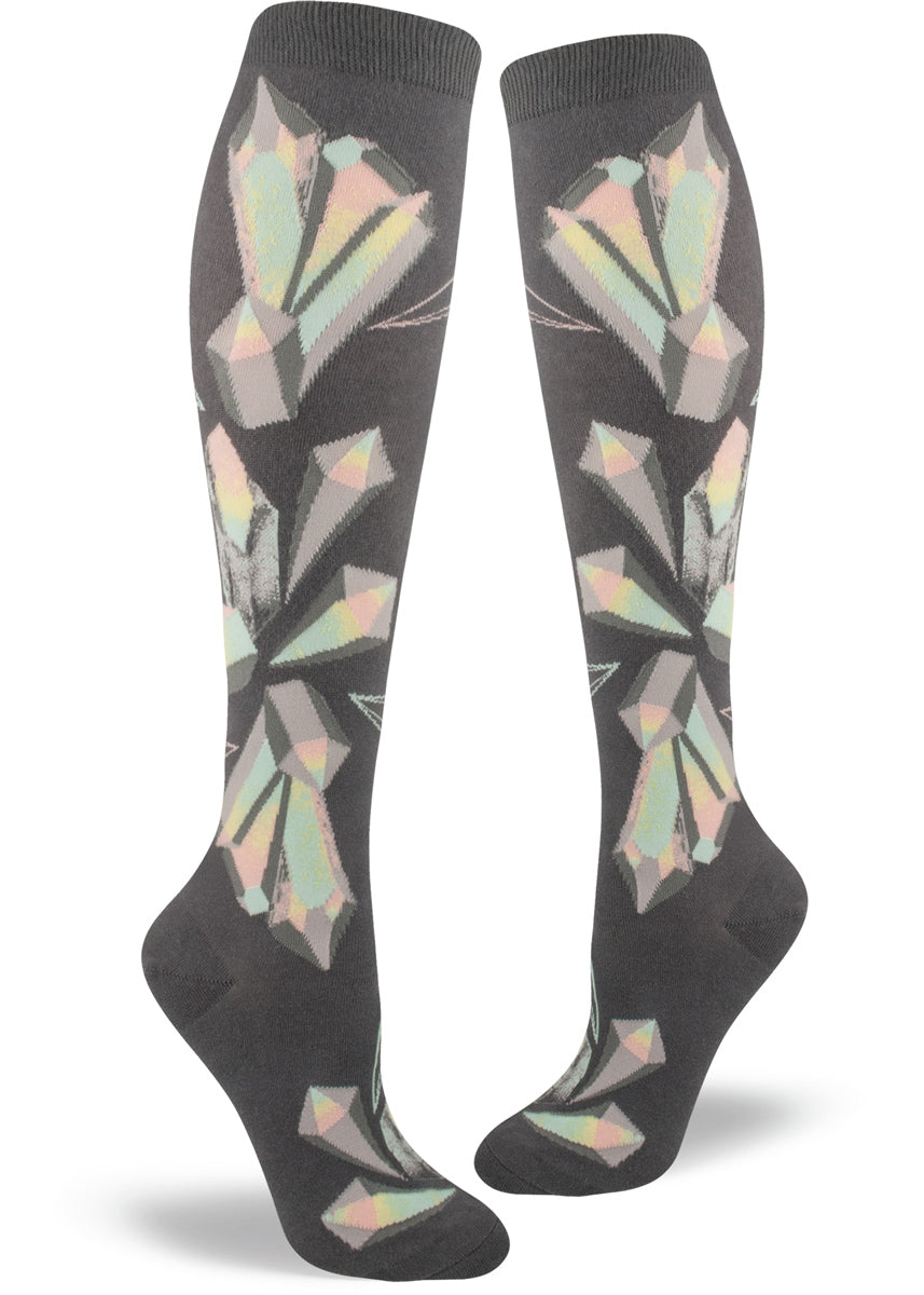 Crystal socks for women with prismatic crystals on knee-high socks with dark gray background