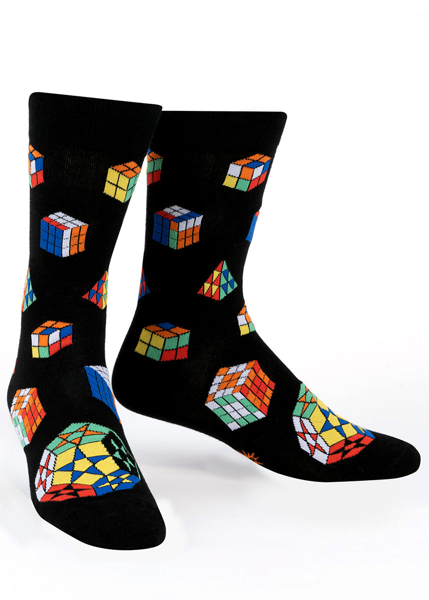 Crew socks for men are covered in a variety of different puzzle games including rainbow cubes!
