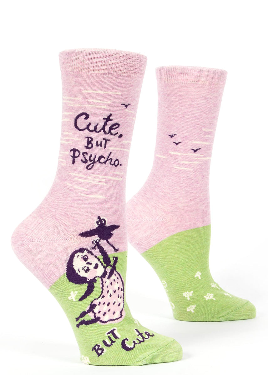 "These funny women's socks say ""Cute, but psycho but cute."""