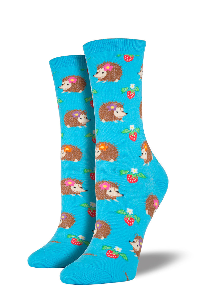 Cute hedgehogs and strawberries on hedgehog socks for women