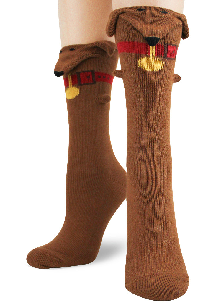 e7dbf460c Funny 3D dog socks for women with floppy ears, dachshund faces and red  collars