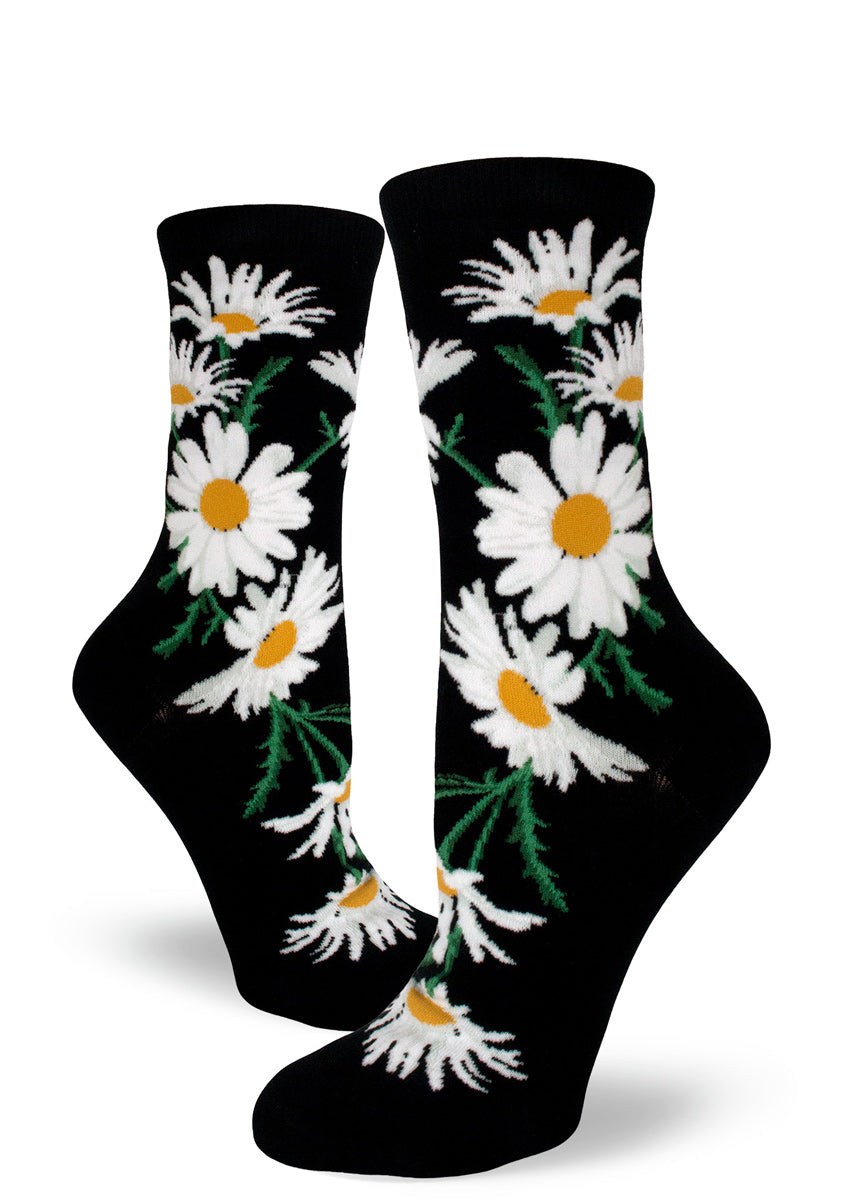 046cc27e3 Daisy flower socks for women with white and yellow daisies on a black  background