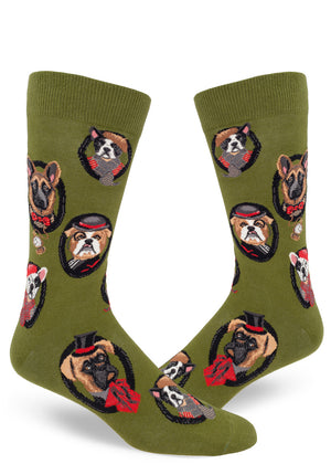Dog socks for men with different dogs wearing clothes like fancy gentlemen