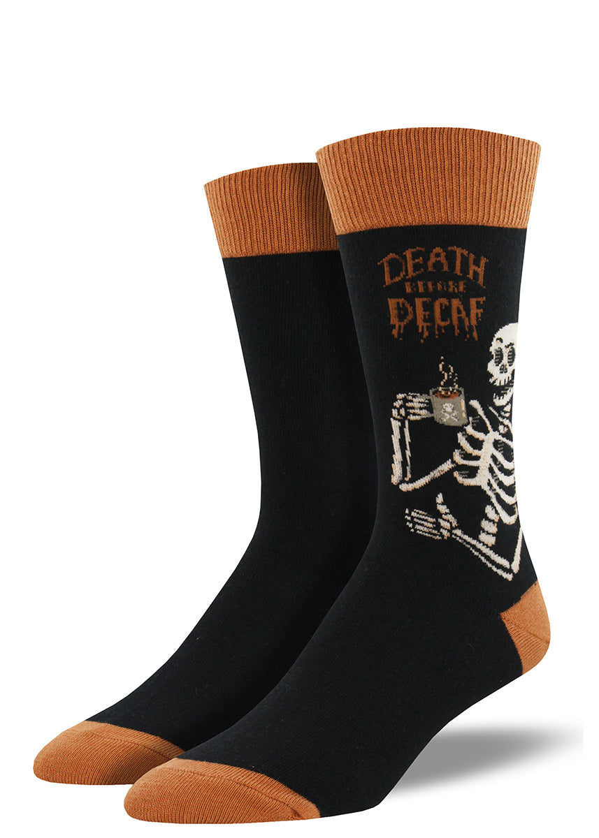 If you'd rather die than drink decaf, let the world know with these coffee socks for men!