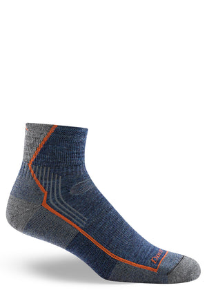 Low-rise wool hiking socks for men in denim blue with thin orange stripe
