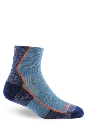 Denim-colored wool hiking socks for women in quarter length.