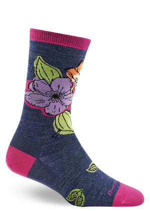 Floral wool socks for women with flowers on a dark blue background