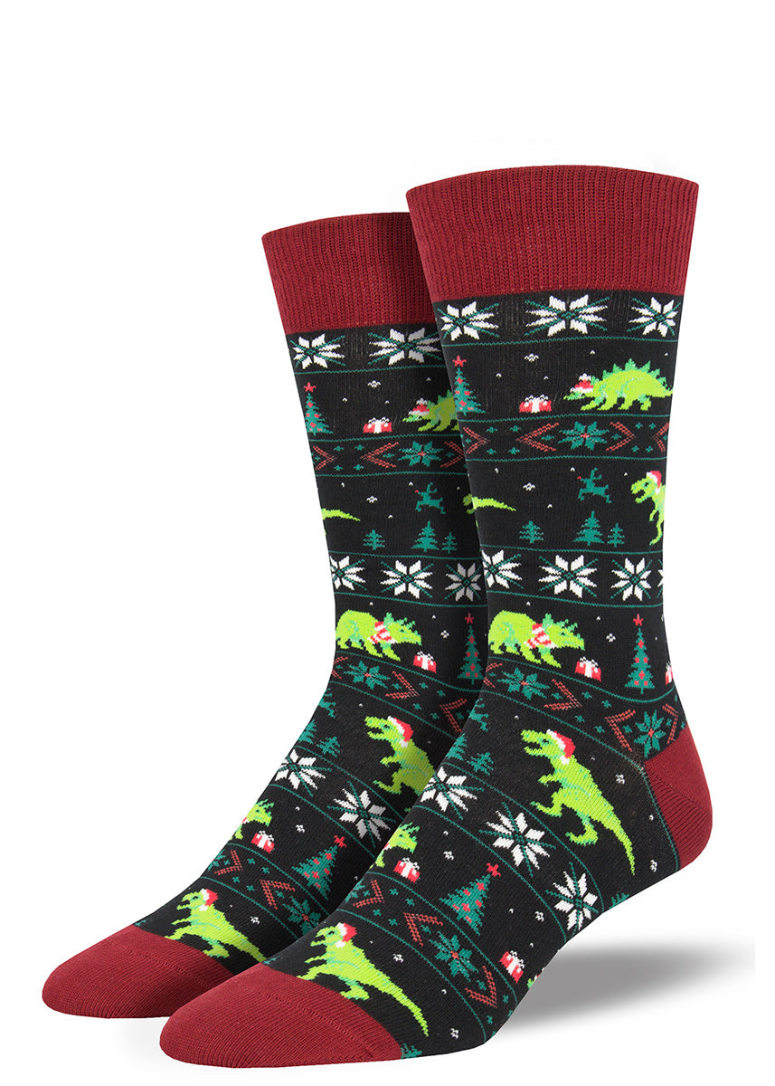 Christmas dinosaur socks for men with sweater pattern
