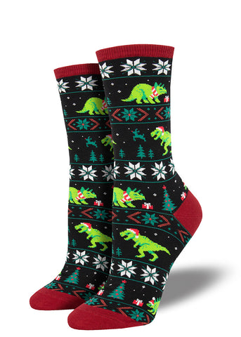 Dinosaur Christmas sweater socks for women with T. rexes and Triceratops in a Christmas design