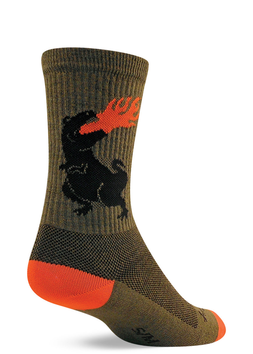 Dinosaur socks with T. rex dinosaurs breathing fire on olive green wool socks for men & women