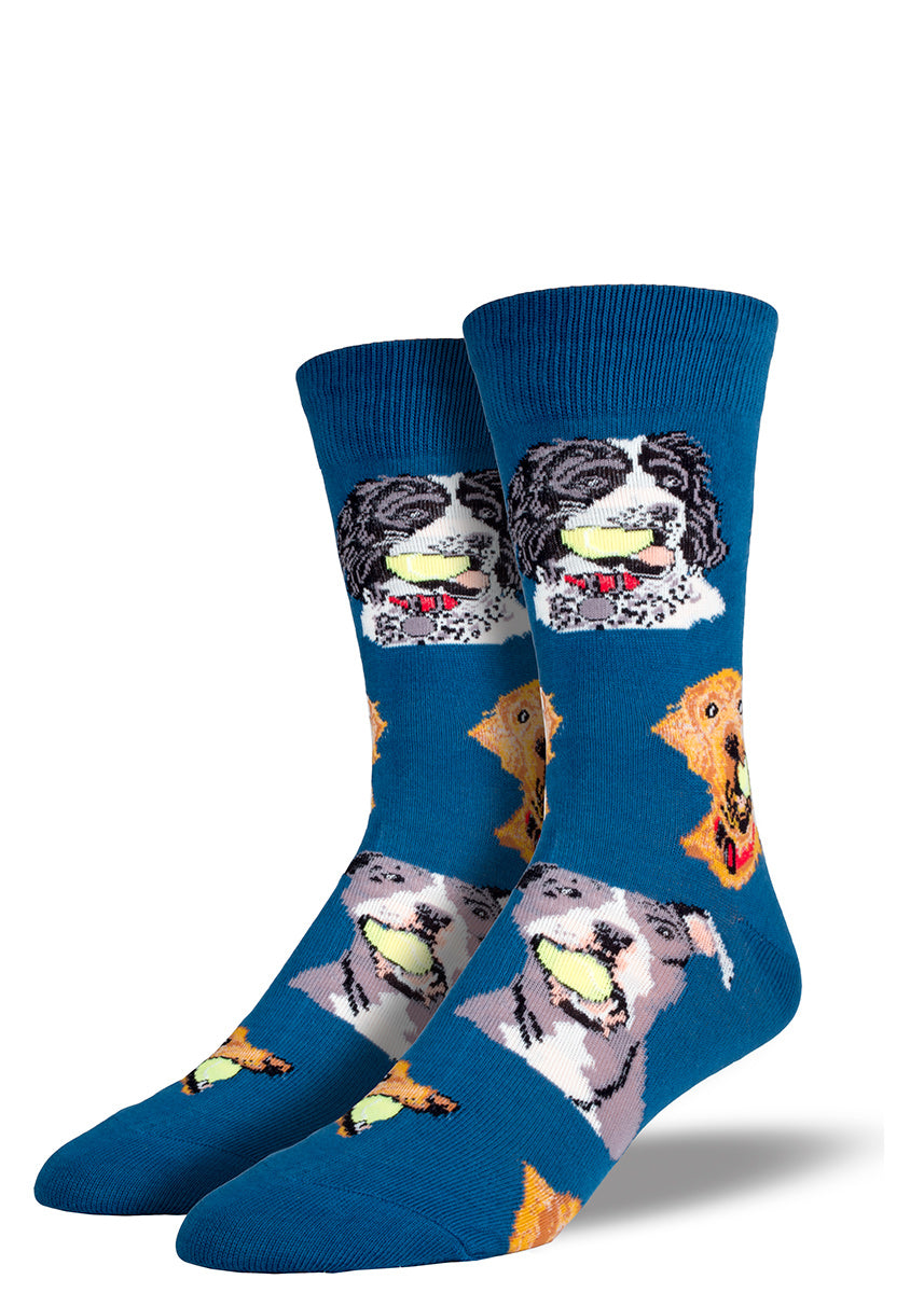 These fetching dog socks for men feature many breeds of dogs holding tennis balls in their mouths.