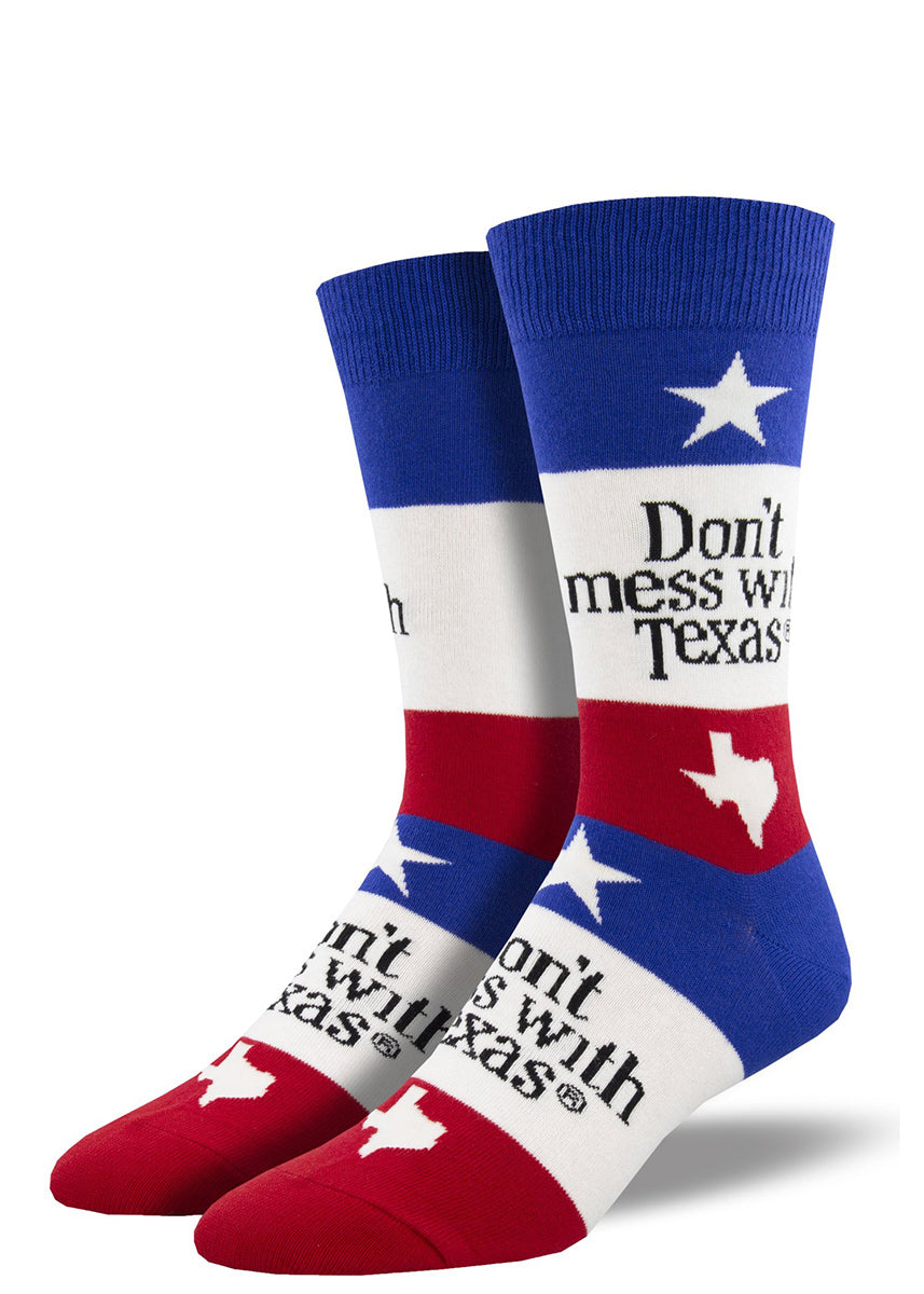 "Funny socks for men say, ""Don't mess with Texas,"" and feature a Lone Star flag design."