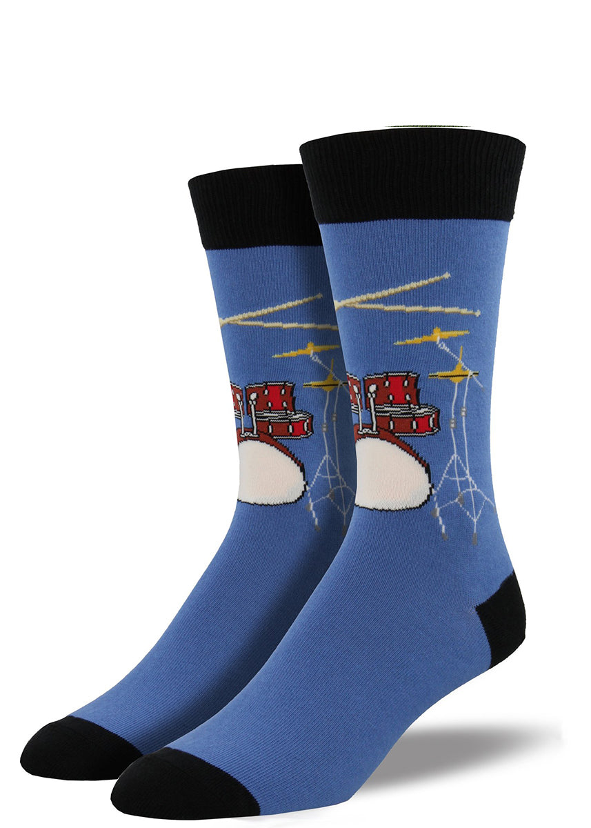 Drummer socks for men with drums and drum kits on blue socks